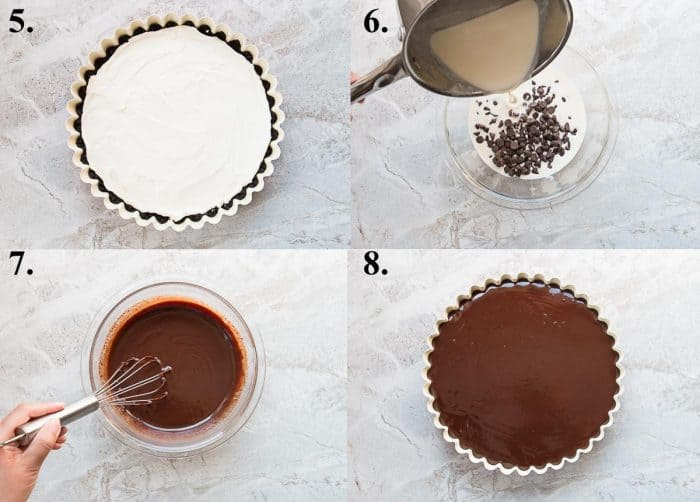 process pictures steps 5-8 of how to make a chocolate ganache mascarpone tart