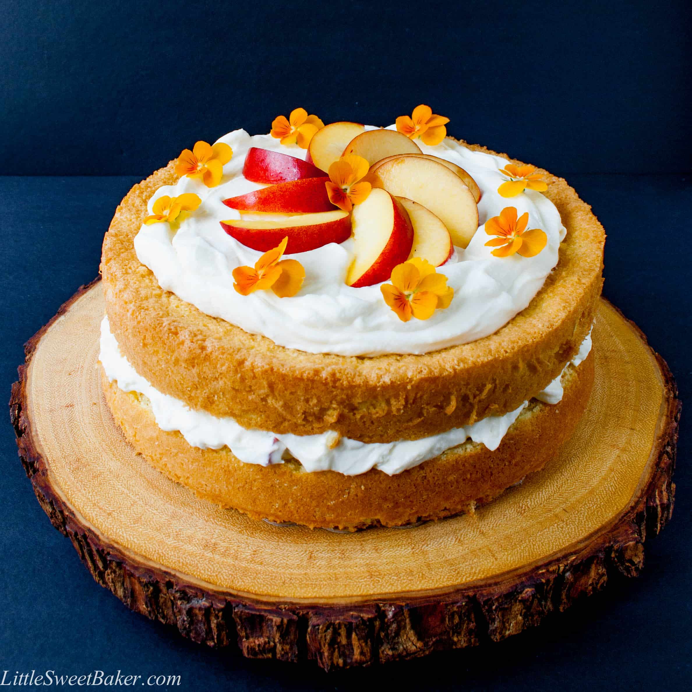 Peaches and Cream Cake - Little Sweet Baker