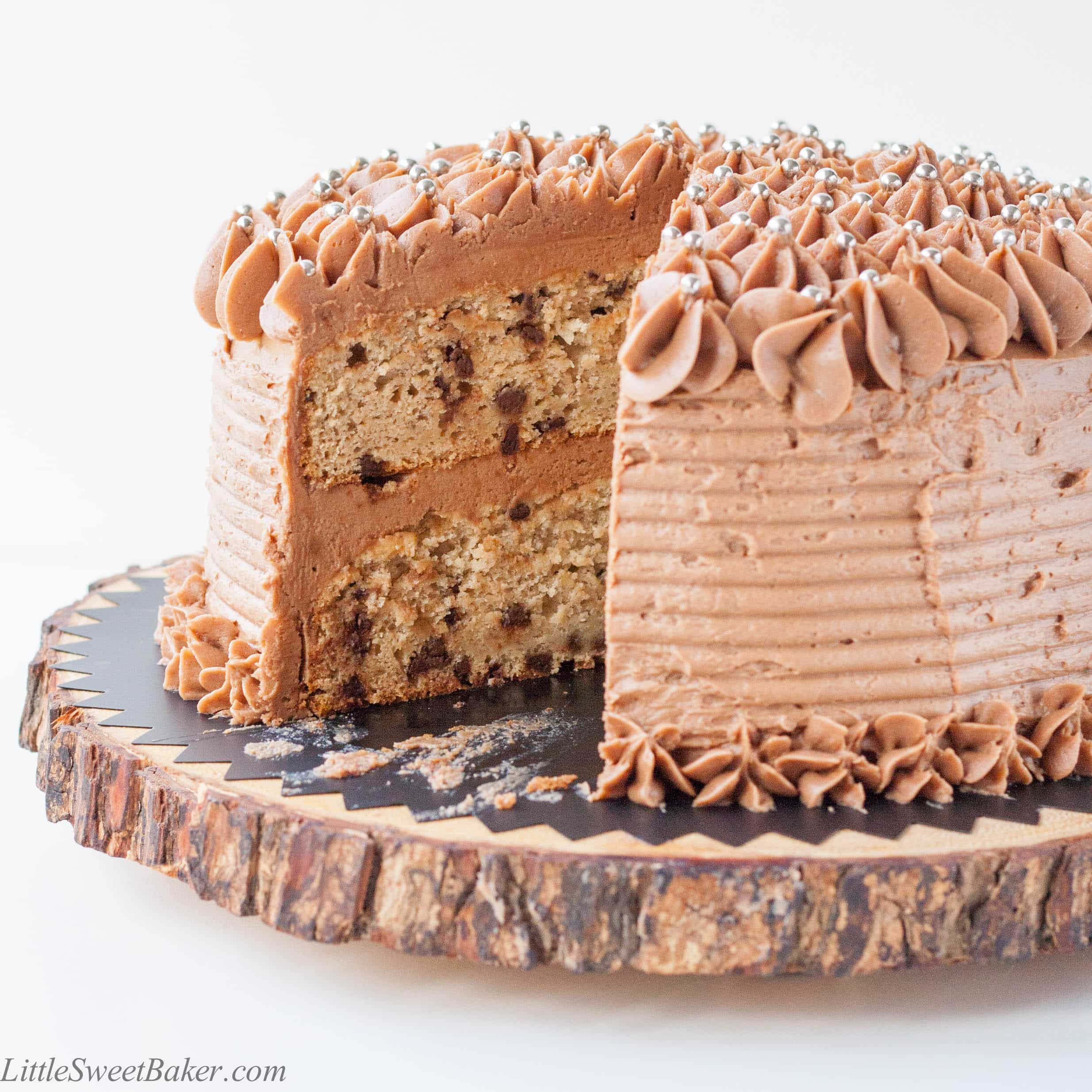 Banana Chocolate Chip Cake With Milk Buttercream Choco Chips