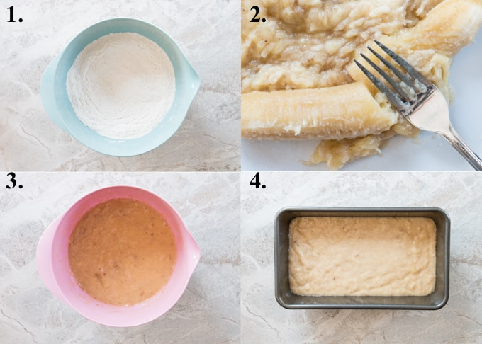How to make banana bread in 4 steps.