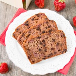 STRAWBERRY CHOCOLATE CHIP BREAD. Bursting with strawberry flavor in every bite because this quick bread is made with a fresh strawberry preserve instead of chopped strawberries. It's so good - your taste buds will thank you!