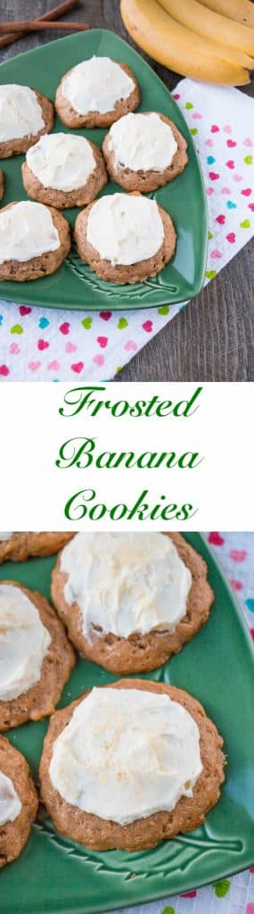 Delicious and soft, cake-like cookies topped with a sweet and tangy cream cheese frosting. A great way to use up overripe bananas, that's faster and easier than making banana bread.