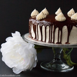 "TRIPLE CHOCOLATE CAKE. A rich dark chocolate fudge cake surrounded with a creamy white chocolate buttercream and topped with a smooth chocolate ganache. This cake will have you saying ""OMG!"" It's that good."