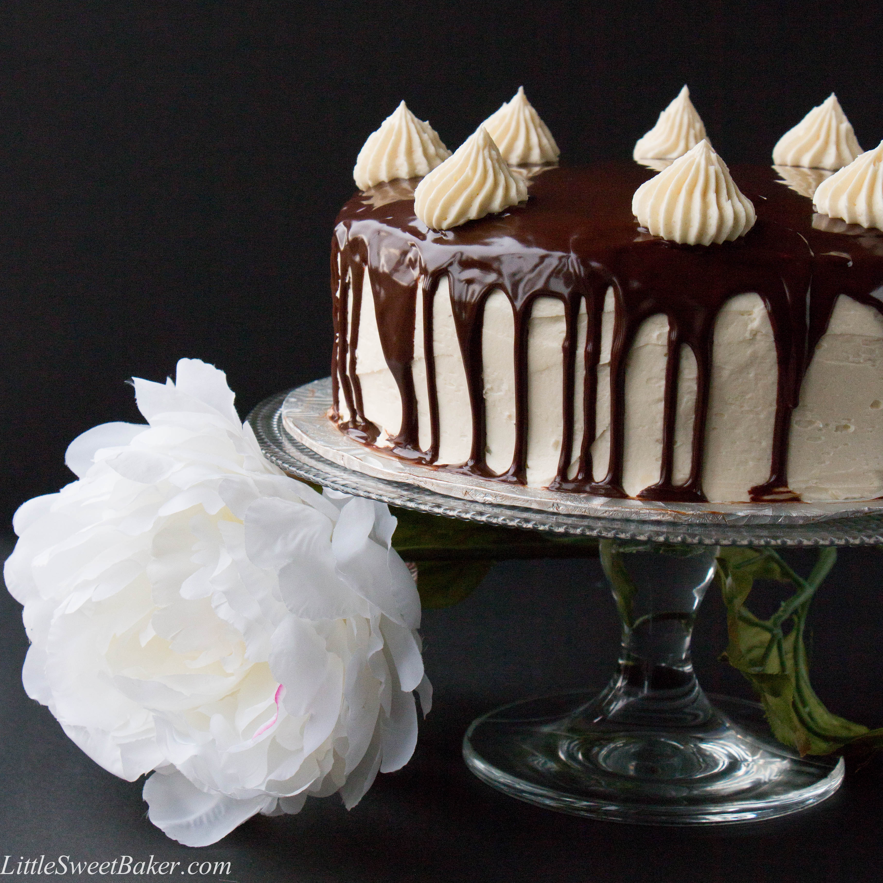White Chocolate Ganache Cake Decorating Ideas : Triple Chocolate Shadow Cake - Little Sweet Baker