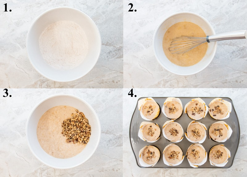 A picture collage of how to make banana nut muffins.