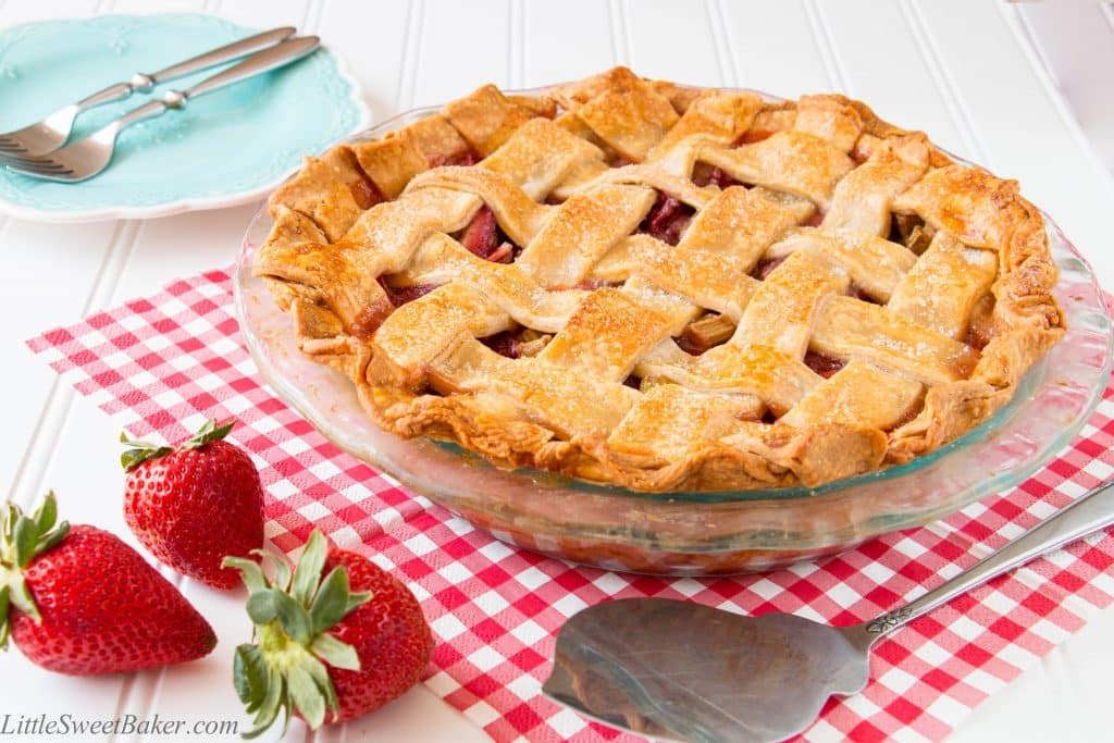 A delicious flaky pie crust paired with a sweet and tangy strawberry rhubarb filling. See how easy it is to make this gorgeous lattice pie. (Video Recipe)