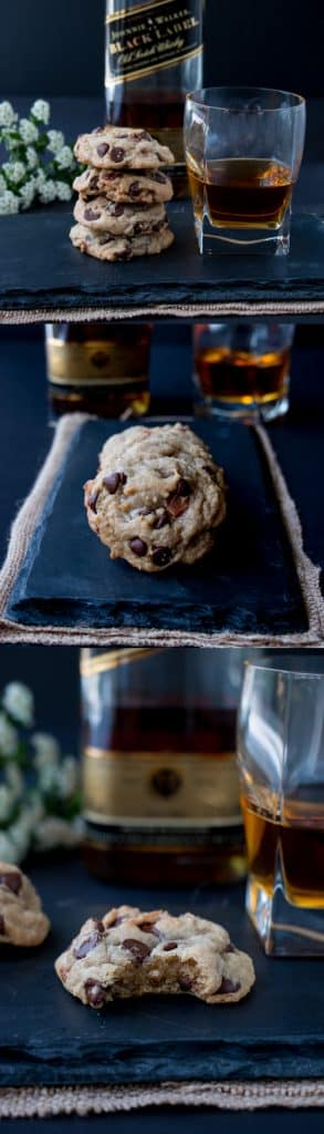 These soft and chewy cookies are packed with chocolate chips. The bourbon adds a bittersweet caramel flavor which goes really well with the subtle smokey saltiness of the bacon. These are not your average cookies.