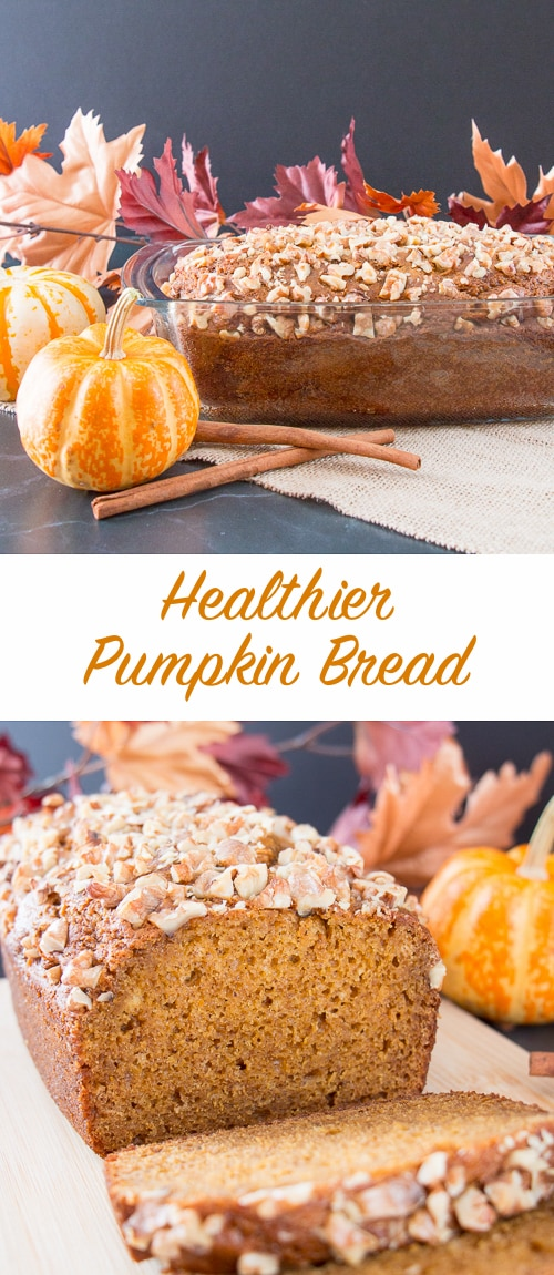 This incredibly moist pumpkin bread is made without any butter or oil. It is soft, not too sweet, and packed with pumpkin flavor and spice. #healthypumpkinbread #pumpkinwalnutbread #pumpkinspicebread #pumpkinbread
