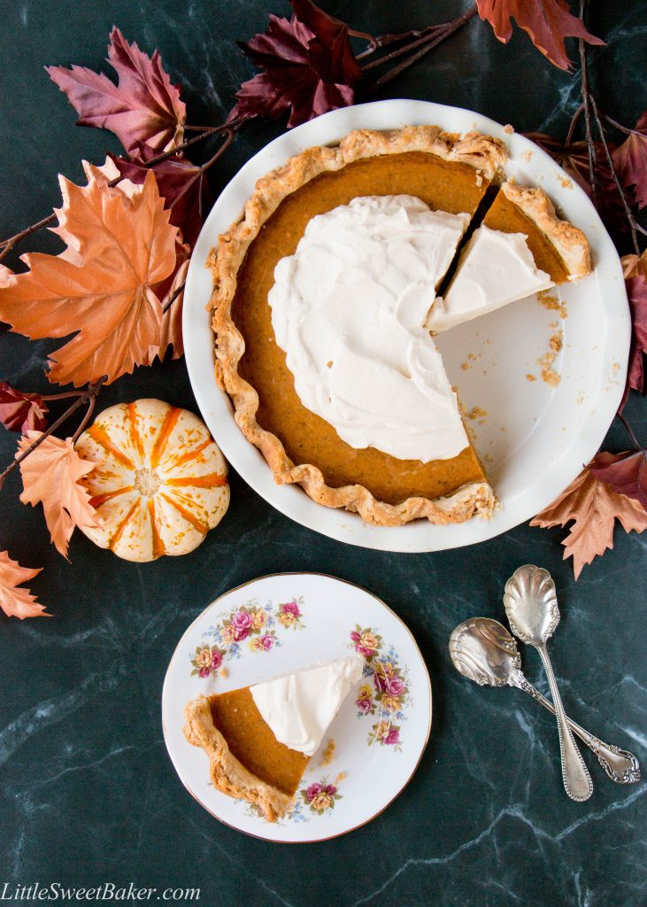 The BEST and easiest homemade pumpkin pie from scratch! A foolproof pie crust recipe, and a 5 ingredient filling topped with a heavenly caramel whip. Wow your guest with this fabulous dessert! (video recipe)