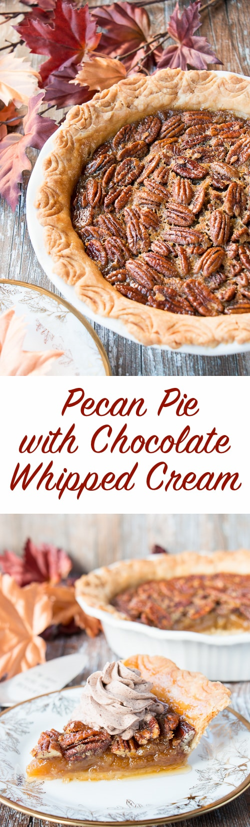 Classic pecan pecan made from scratch and served with chocolate whipped cream.