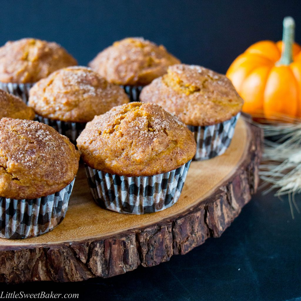 These supremely soft and moist muffins are packed with pumpkin and spice flavor, and topped with a crunchy sugar coating.