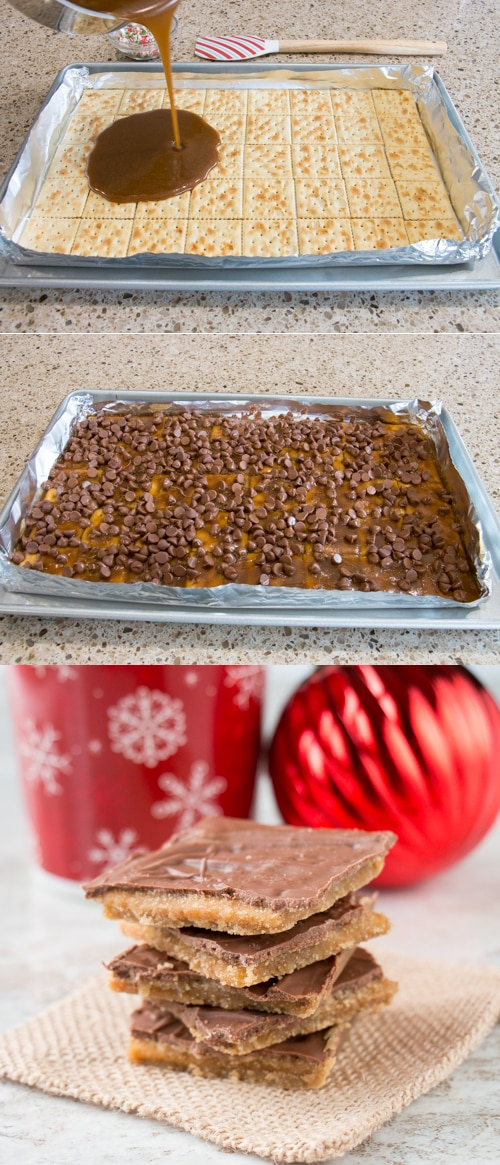 """It's called """"crack"""" for a reason; it's that addictive! Just 4 ingredient to make this popular Christmas candy (aka saltine cracker toffee)"""