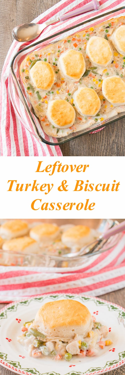 Turn this year's leftover turkey into a delicious creamy turkey & biscuit casserole. You can also use your leftover vegetables in this dish.