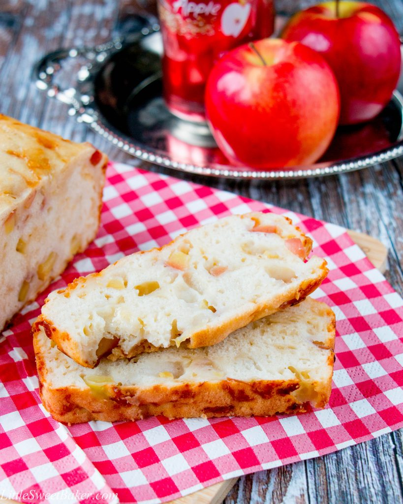 Sweet chunks of apples with the salty bold flavor of smoked gouda cheese makes this savory beer bread absolutely irresistible. Perfect as an appetizer or served as a side dish.