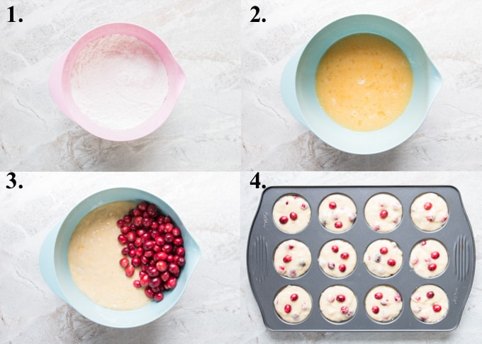 picture collage of how to make cranberry orange muffins