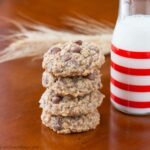 These super soft oatmeal cookies are loaded with chocolate chips and chewy oatmeal. They have a buttery and warm brown sugar flavor and hint of cinnamon.