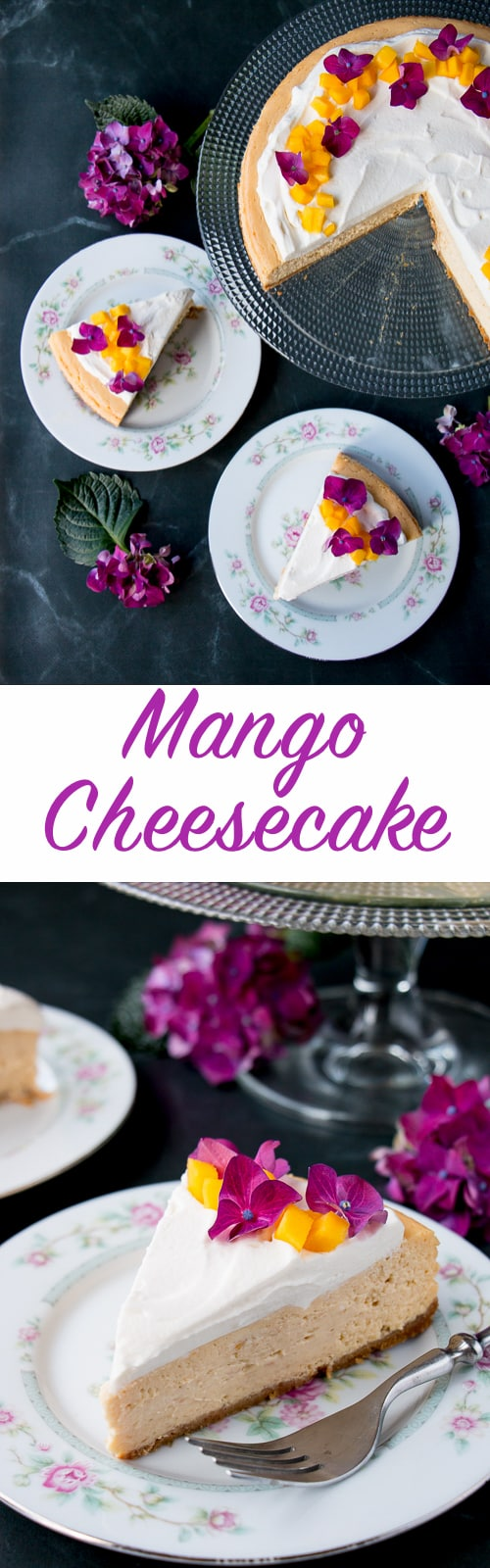A soft and silky cheesecake with a light tropical flavor of fresh mangoes.