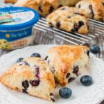 These sweet and savory scones are tender and buttery with the taste of creamy feta cheese and fresh blueberry goodness baked in.