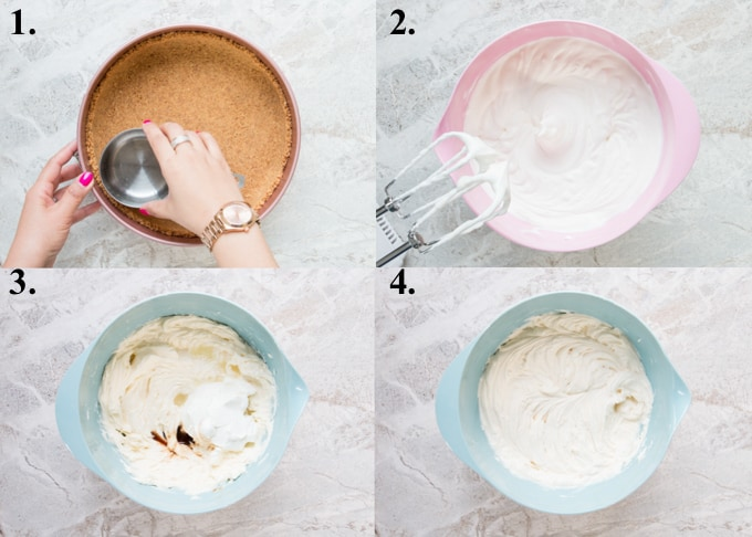 picture collage of how to make no-bake cheesecake