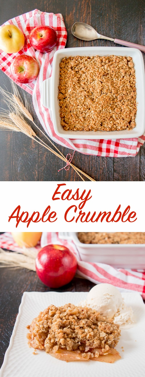 This quick and easy apple crumble is delicious, warm and comforting. Filled with tender baked apple slices and blanketed with a crunchy oat streusel.