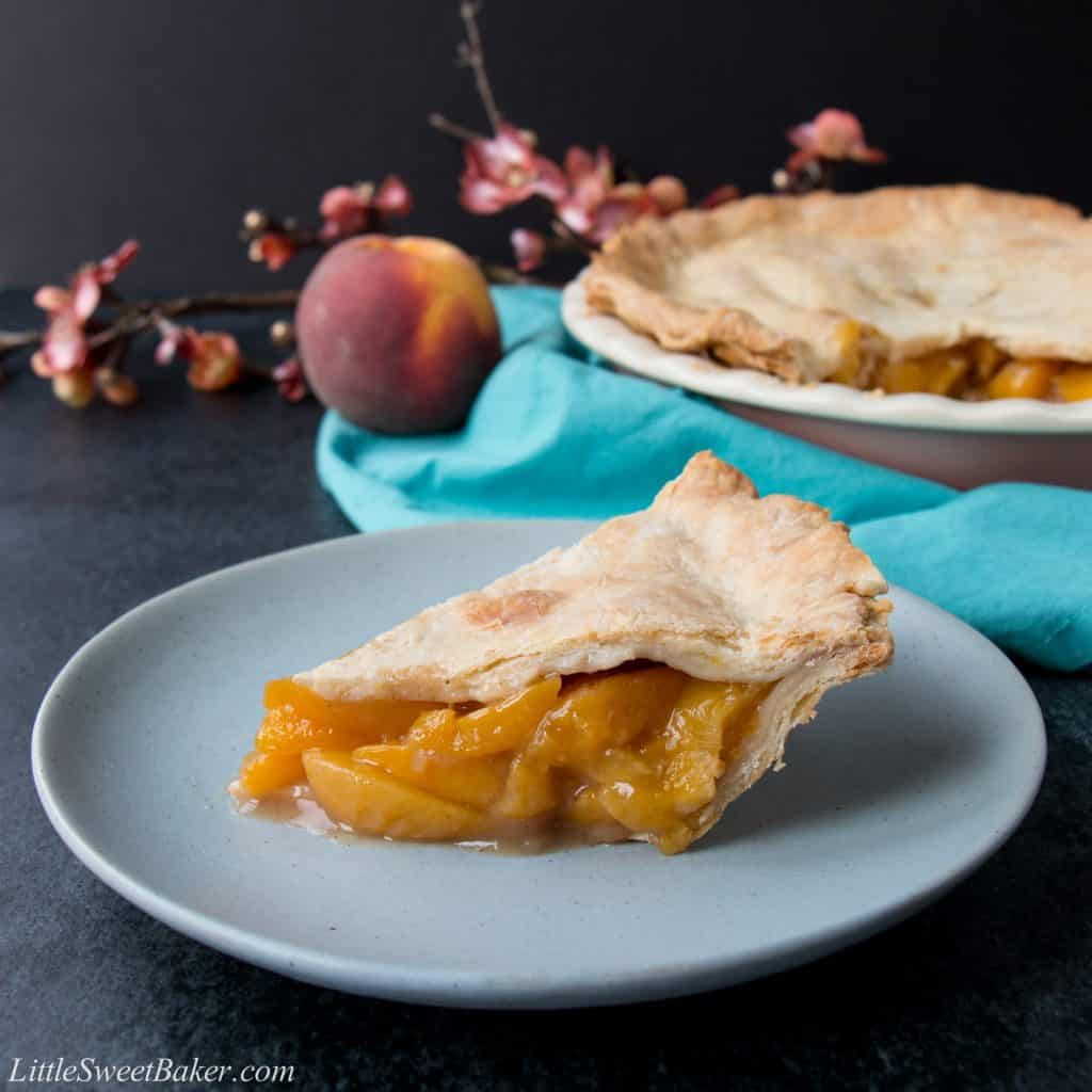 This easy peach pie has a rich-buttery pie crust and a simple peach filling. Use fresh or frozen peaches and enjoy this pie all year round.