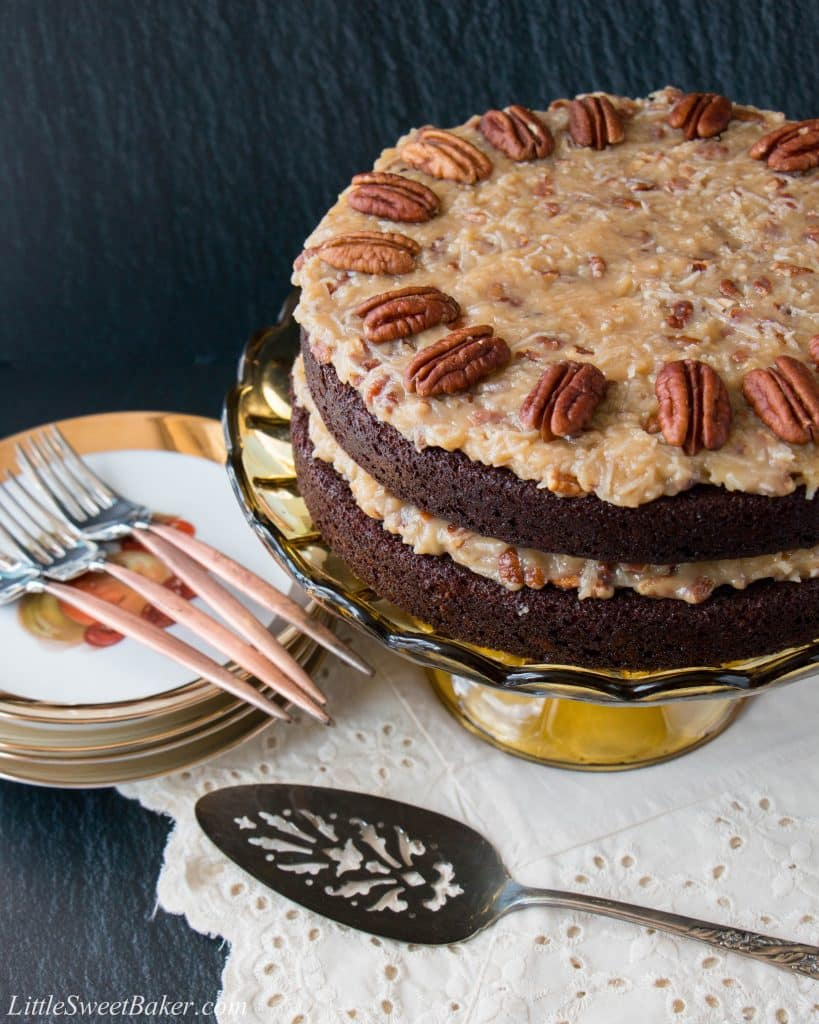 This is a classic German chocolate cake made with layers of moist and delicious chocolate cake and a rich coconut and pecan frosting. Easy and made-from-scratch recipe.