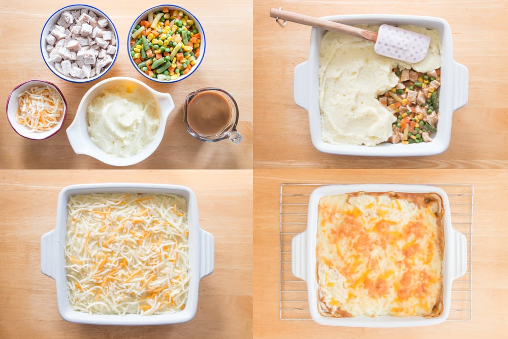 Transform almost all your leftovers into a scrumptious new meal. Use up your leftover turkey, veggies, mashed potatoes and gravy in this delicious shepherd's pie. #leftoverturkeyrecipes #leftovermashedpotatorecipes #leftovergravy #leftovervegetables