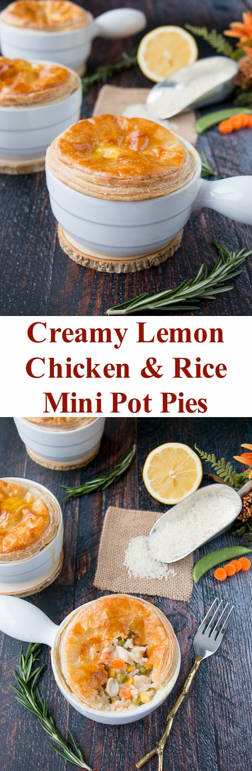 These mini chicken pot pies are topped with a flaky puff pastry and filled with rice, veggies and chicken in a creamy lemon sauce. #chickenpotpie #minichickenpotpies #chickenandrice #ReachForRice #Ad #usaricecan