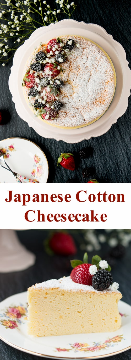 This Japanese cheesecake has the texture of a sponge cake and taste of a cheesecake. It's the best of both in one amazing dessert! #Japanesecheesecake #cottoncheesecake #fluffycheesecake #soufflecheesecake