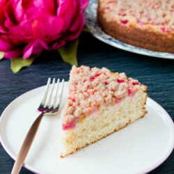 This is a tender and moist sour cream coffee cake topped with gorgeous chunks of rhubarb and a sweet-cinnamon streusel. #rhubarbcake #coffeecake #cinnamonstreusel