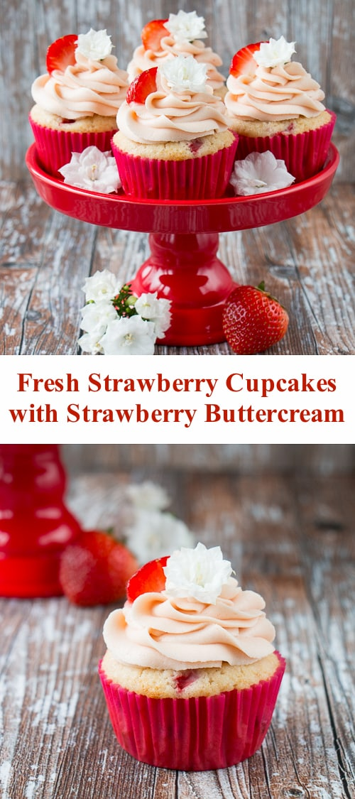 These fresh strawberry cupcakes are made from scratch with real strawberries and topped with a creamy strawberry buttercream. They are incredibly fluffy and moist, and full of fresh fruit flavor. #strawberrycupcakes #homemade #fresh #strawberrybuttercream