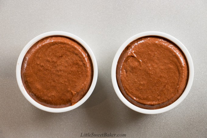 Two chocolate souffles ready to be baked