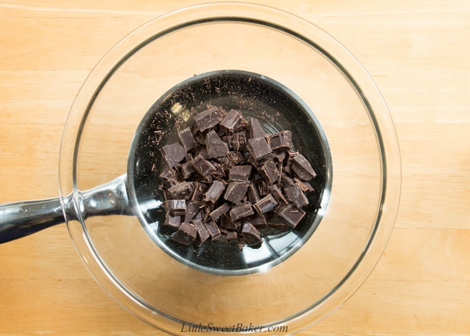 chopped chocolate in a double-broiler