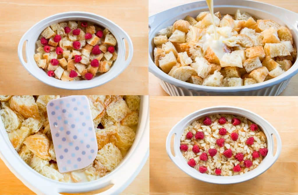 process shots of croissant bread pudding with berries and nuts.