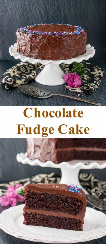 This supremely moist and tender chocolate cake is surrounded by a rich chocolate fudge frosting. It's the best chocolate cake you'll ever taste and uber easy to make! #chocolatecake #chocolatefudgecake #chocolatelayercake