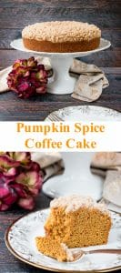 A streusel topped moist coffee cake flavored with pumpkin and fall spices. #pumpkincake #pumpkinspicecake #pumpkincoffeecake