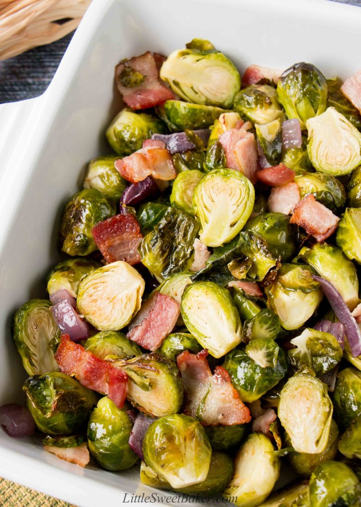 This easy one-pan roasted brussel sprouts is a perfect side dish to any meal. The bacon adds a smokey flavor to the crispy and sweet caramelized brussel sprouts. #roastedbrusselsprouts #Thanksgivingside #Thanksgivingrecipe