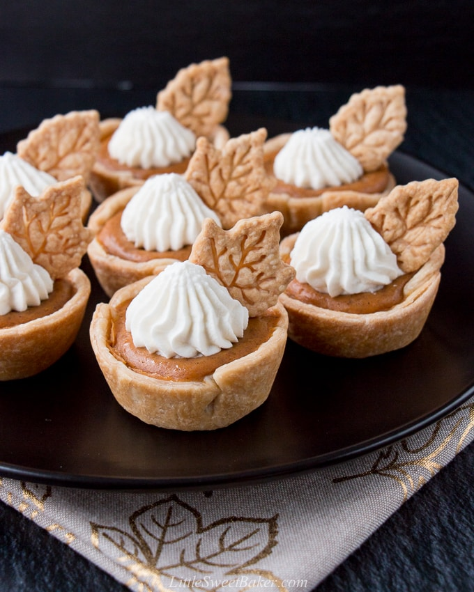 These individual mini pumpkin pies are creamy and perfectly flavored with pumpkin and spices. They are super easy to make and even easier to serve. #minipumpkinpie #individualpumpkinpies #Thanksgivingdessert