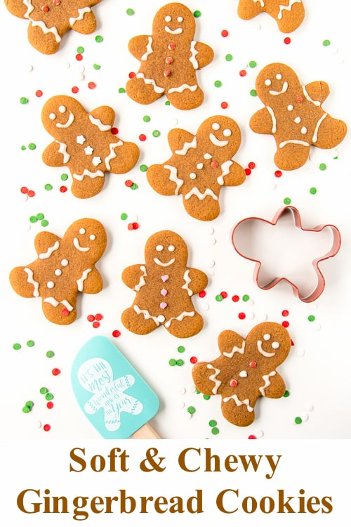 This quick and easy to make gingerbread cookies hold their shape beautifully in the oven and there is no chilling required. #gingerbreadcookies #gingerbreadmen #softgingerbreadcookies