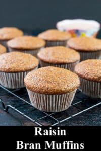 raisin bran muffins on a cooling rack