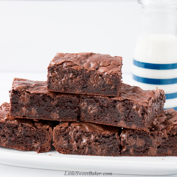 Five brownies on a white plate with a glass of milk in the background.