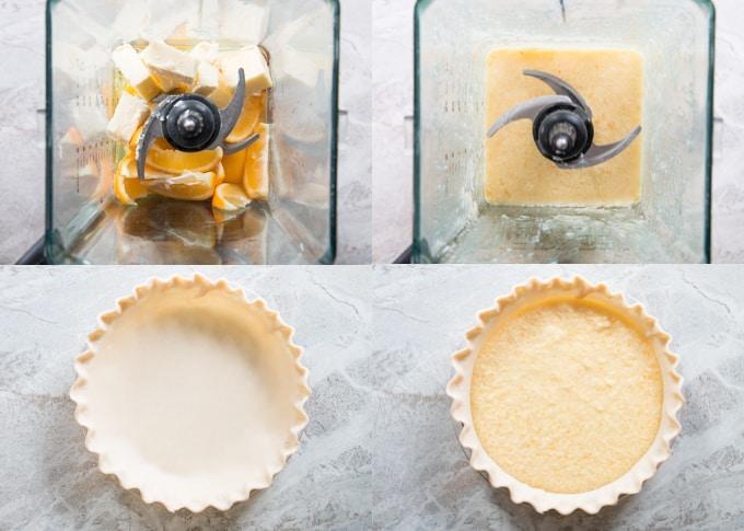 process shots of preparing a whole lemon pie