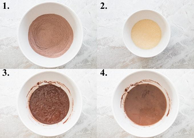 how to make chocolate sheet cake steps 1-4