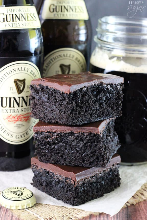 a triple stack of Guinness brownies