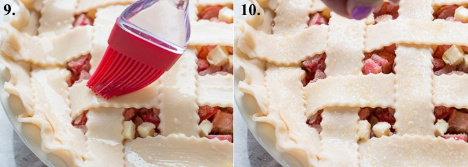 egg wash and coarse sugar on a rhubarb pie before baking