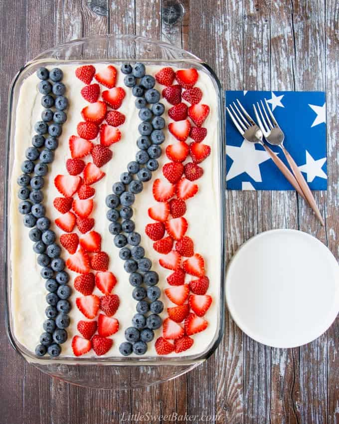 A 4th of July icebox cake on a wooden board with a white plate, napkin and two forks beside it.