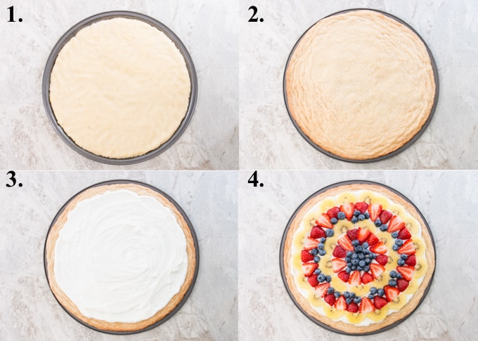 how to make fruit pizza steps 1-4