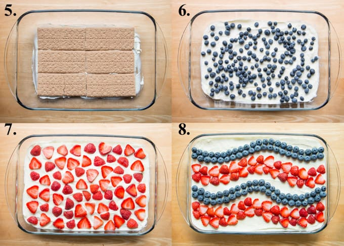 how to make 4th of July icebox cake steps 5-8