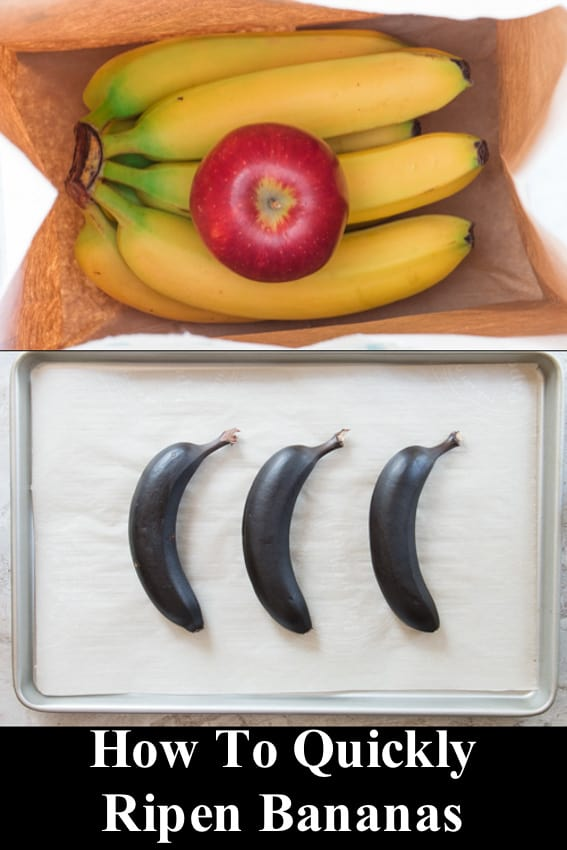 bananas with an apple in a paper bag and black bananas on a baking sheet