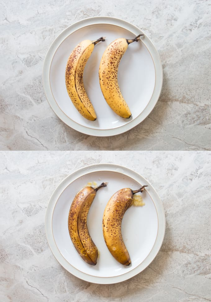 before and after microwaved bananas on a plate